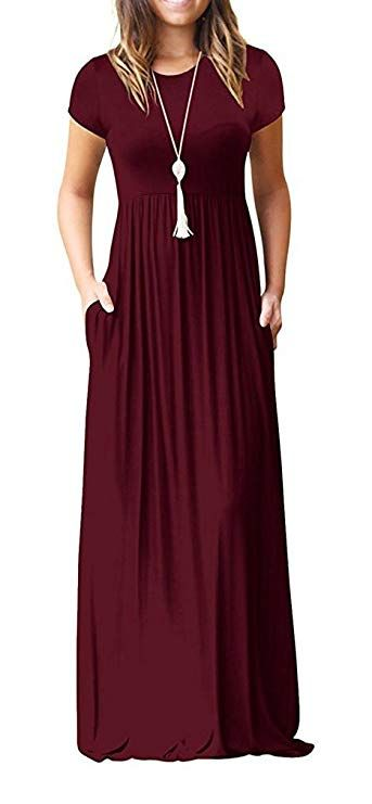 d1da70c259d1 Viishow Women s Short Sleeve Loose Plain Maxi Dresses Casual Long Dresses  Pockets Material 95% Rayon