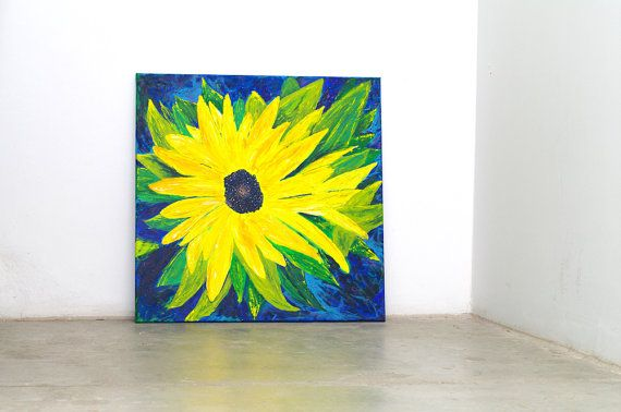 Floral painting acrylic art Blue yellow kitchen art by artbyasta