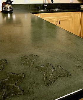 must remember to make some type of imprint when we pour the concrete countertops