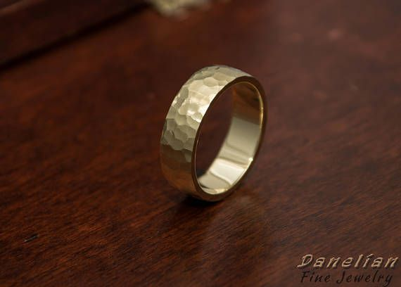 Wide hand hammered mens solid gold band. Created with any custom made specifications asked by fine jewelers. #hammered #jewelry #gold #band #menstyle #danelianjewelry #weddingband #18k #solidgold #gold #solid #goldsmith #workshop #made #custom #jewelry