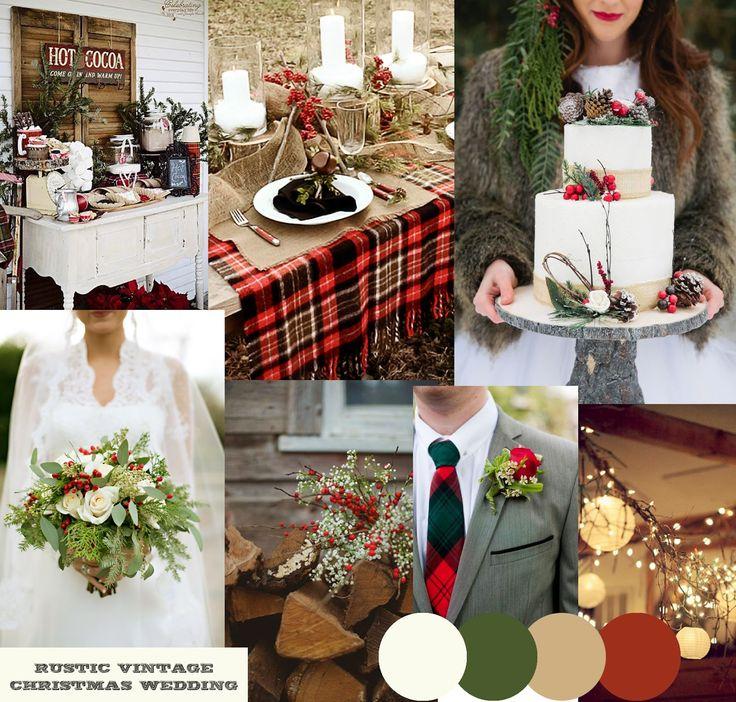 Rustic Vintage Christmas Wedding Inspiration Moodboard by http://knotsandkisses.blogspot.com