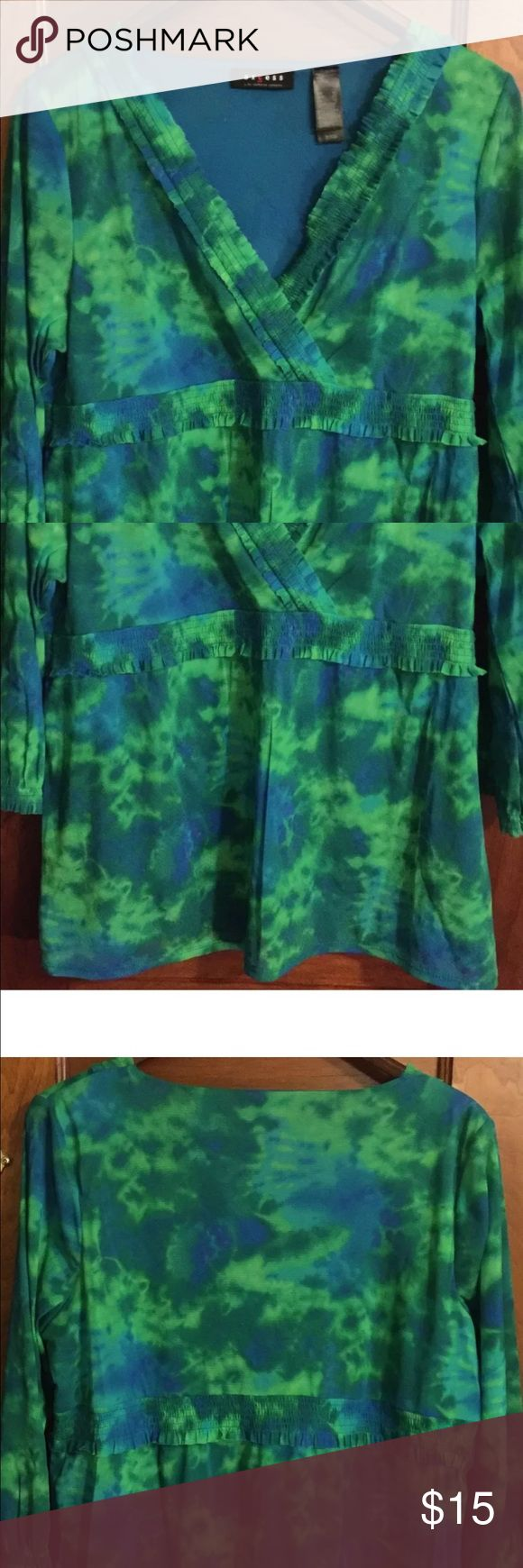 Access Multi Color long Sleeve Blouse XL Access Multi Color 3/4Sleeve Blouse XL Polyester Green. Access  Tops Blouses