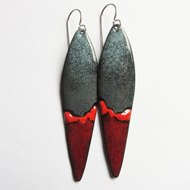 Gray and Red Enamel Earrings - Hand-Painted Art Jewelry