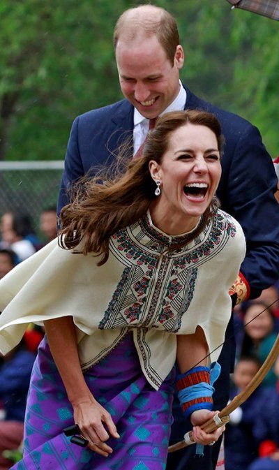 Royal tour Bhutan ---- .....Prince William and Kate Middleton laugh after she fired an arrow....