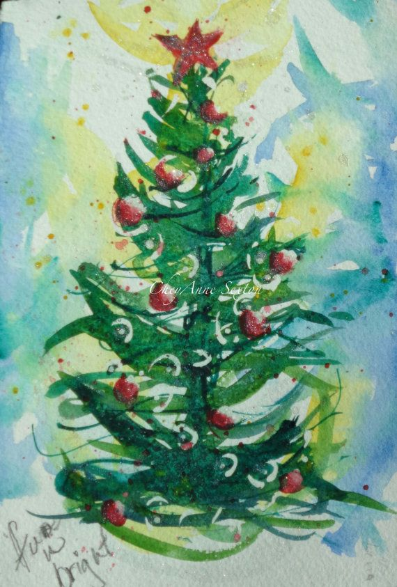Watercolour Christmas Tree Art Snowy Winter Pine By