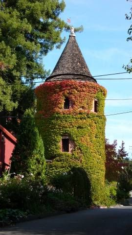the Brandy Tower at Korbel Champagne Cellars in Guerneville, California