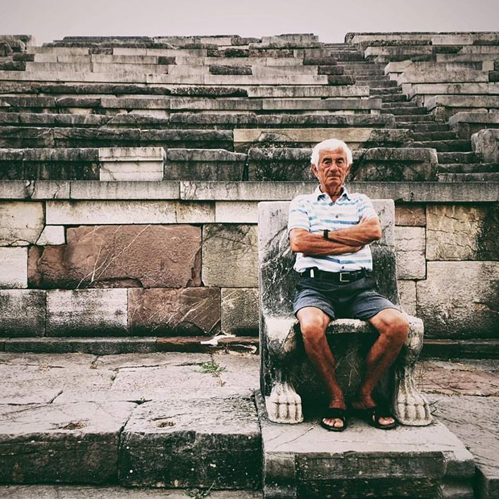 A king in his own right  Papou sits on the throne of  an ancient ruler in the  stadium at Ancient Messene  Ithomi.     #ancient #history #messene #papou #ithomi #grandfather #greece #king #greekpeople #ancientsites #greekhistory #vsco #iphone #travelgreece #beautifuldestinations #peoplescreatives #reasonstovisitgreece #handofgreece
