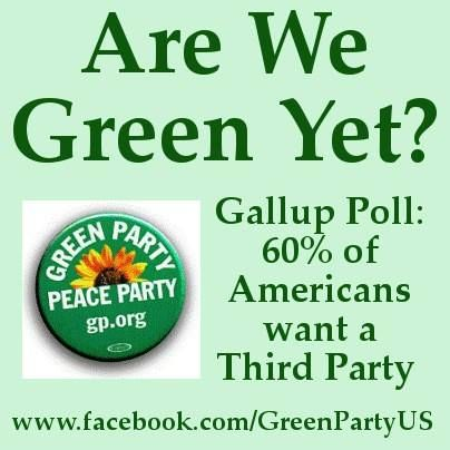 The Green Party would be nice. Libertarian would be better.  Split the conservatives into two groups and break their influence in the political system.  Loosen up the gerrymandered districts and put those seats back in play for EVERY election.