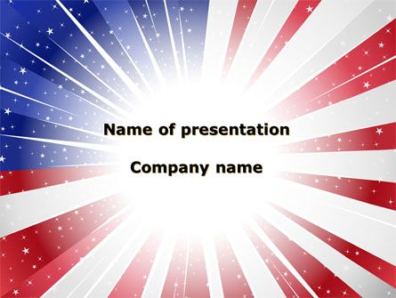 Terrific patriotic PowerPoint template with US flag at the background will be excellent choice for presentations on American Flag, American Patriotism 14 of July, celebration of Flag Day, Father Day, etc.