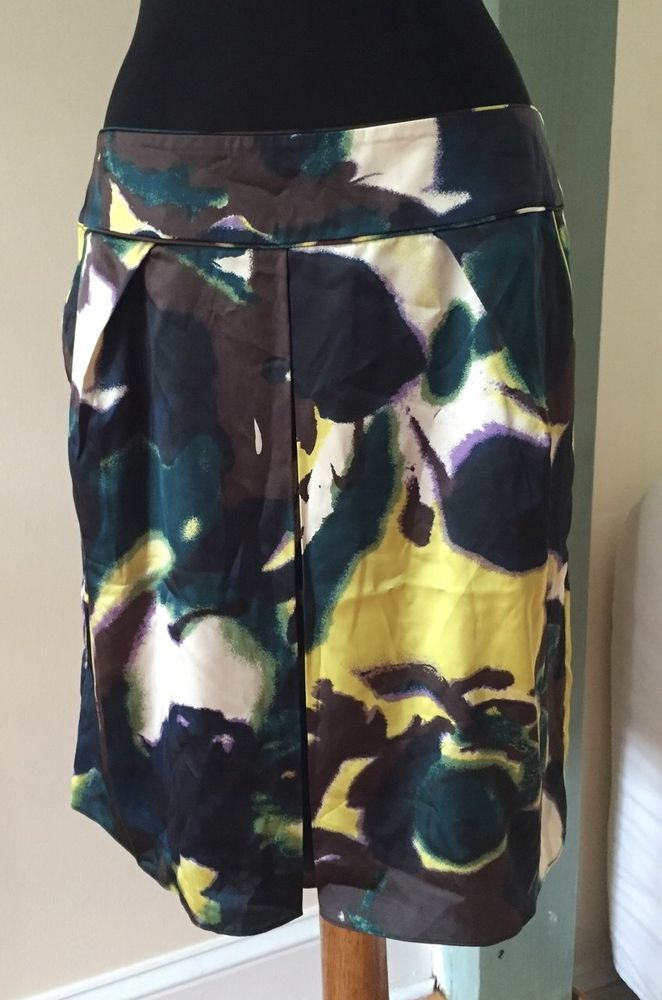 Calvin Klein Silky Abstract Print Tulip 2 Side Pockets Skirt Size 8 #CalvinKlein…