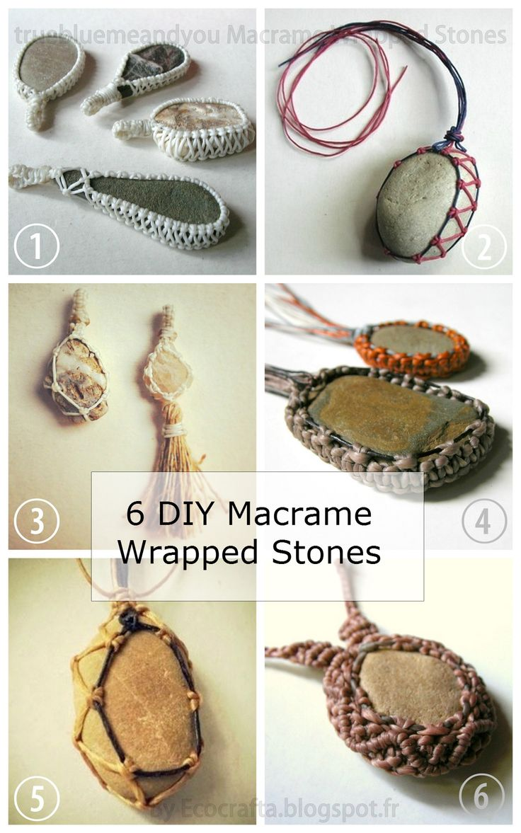 DIY 6 Macrame Wrapped Stone Tutorials from Ecocrafta.I've posted a lot of macrame wrapped and netted stone tutorials and the ones from Ecocrafta range from easy to intermediate. • DIY Lace Wrapped...
