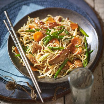 Stir fry duck fillets (or chicken) with noodles & hoisin sauce.  10 minutes.