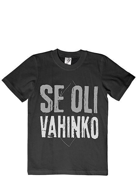 """Duudsonit-t-paita (koko 134). Mustassa poikien t-paidassa komeilee hupaisa Duudsonit-teksti """"Se oli vahinko"""". Koko 134 cm. Materiaali 100 % puuvillaa. Pesu 60 asteessa."""