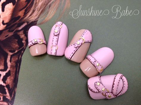 Leather belts on nails :)