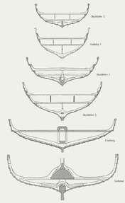 Vikingeskibene var af vidt forskellig størrelse og konstruktion. Her er vist tværsnit af en række af de bedst bevarede skibe.