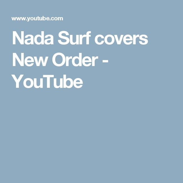 Nada Surf covers New Order - YouTube