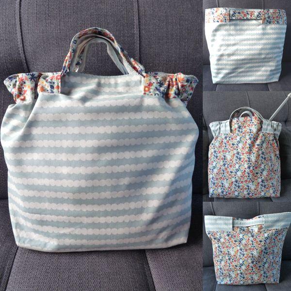 Ce joli sac est simple à réaliser. Choisissez 2 jolis tissus, imprimez gratuitement la fiche techniques, sortez votre machine à coudre et...A votre tour de confectionner votre sac à coulisses réversible !