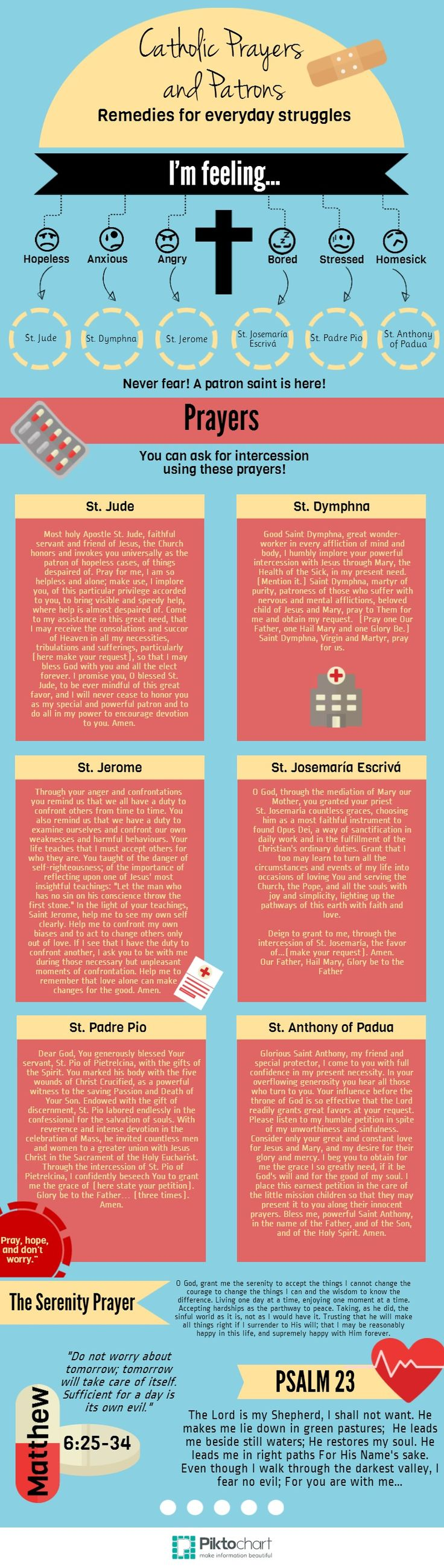Anxious? Worried? Check out this great infographic which guides you to prayers and patrons to help with life's struggles! #saint #catholic
