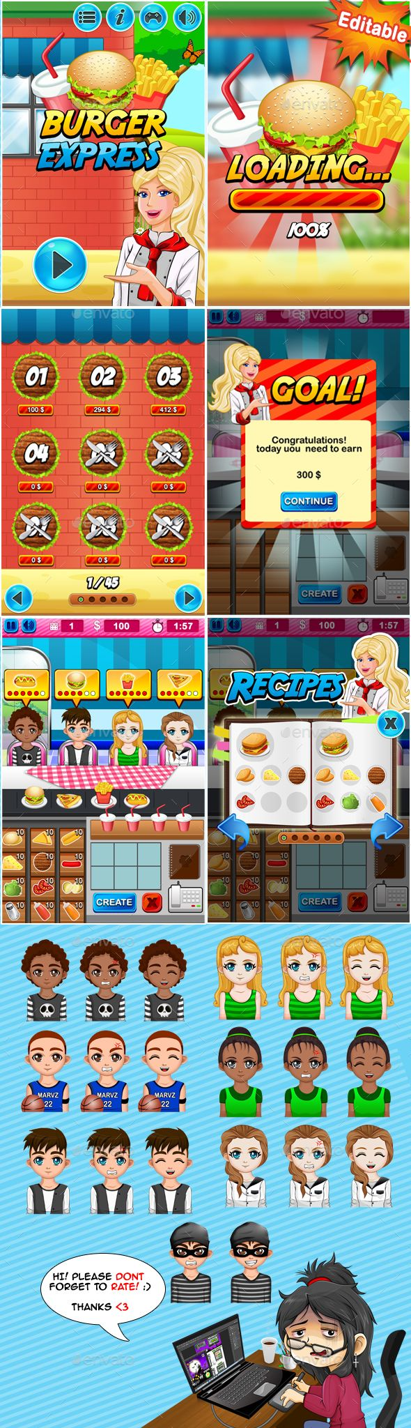 2D Mobile Game Kit - Burger Express - Game Kits | DOWNLOAD: https://graphicriver.net/item/2d-mobile-game-kit-burger-express/19998872?ref=sinzo #Game #Assets
