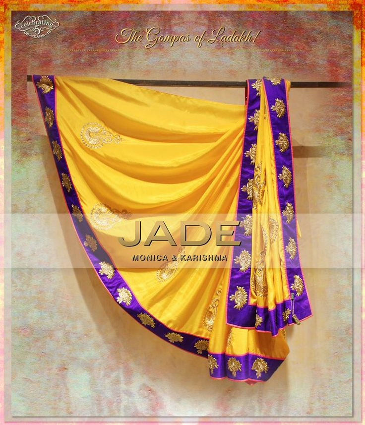 Radiate this festive in JADE's Luxe Sari inspired by the 'Gompas of Ladakh' #jadebyMK #jade_byMK #jade #yellow #purple #indianwear