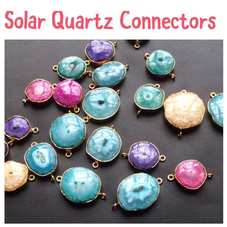 Beautiful Vibrant Colors Solar Quartz Connectors with Double Loop. Looking for something, convo us and we will gladly help. Only on Gemsforjewels - Flat 51% off on all items!