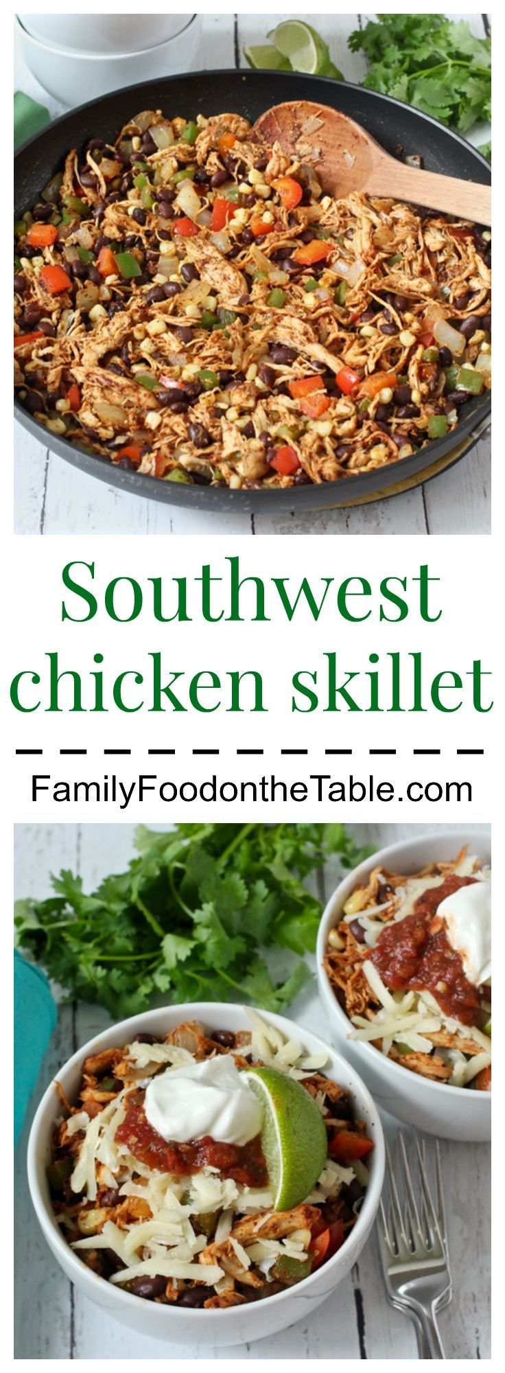 An easy Southwest chicken skillet dinner that's ready in just 15 minutes! Also gluten-free and low-carb | FamilyFoodontheTable.com