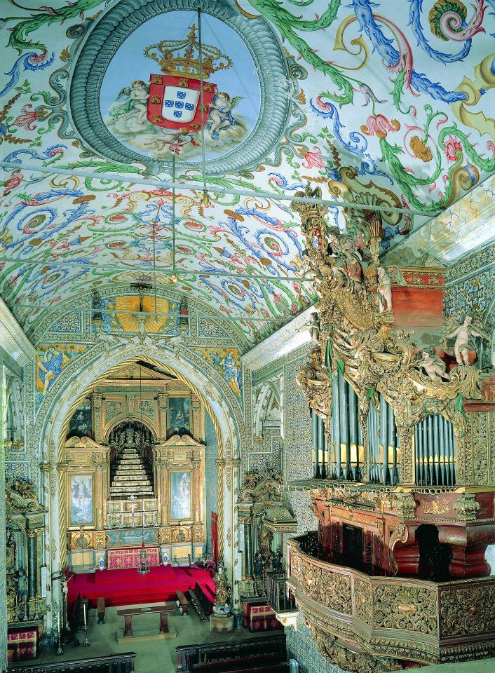 St. Michael's Chapel | Capela de S. Miguel, Coimbra. Mixed complementary colors--green, blue, rose w white and gold. Could do black as accent instead (obv at home, not in a church)   RePinned by : www.powercouplelife.com