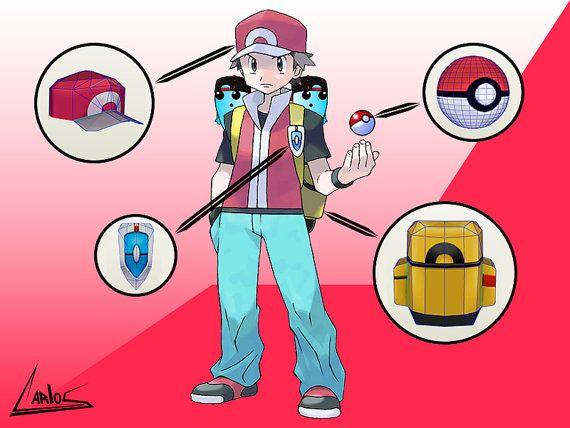 Kit Entrenador Pokemon (Rojo) / Kit Trainer pokemon (Red), pokemon universe. Papercraft / Pepakura by WordarStore.
