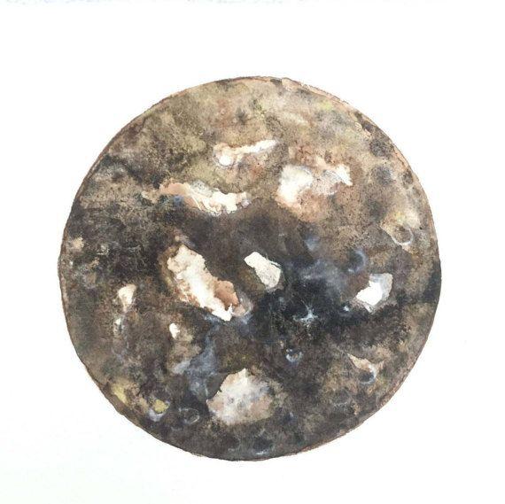 Maan schilderij-moon painting-wall art-original door ZenWatercolors