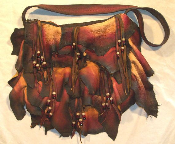 Artisan  Made Designer Leather Handbag Ruffled Deerskin Purse Beaded Bag   RUFFLE-ICIOUS  Handmade by Debbie Leather via Etsy