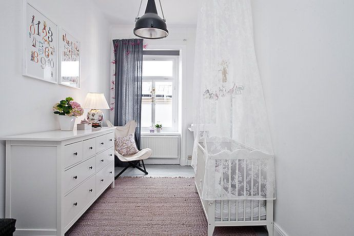 white walls & furniture, neutral rug and dark drapes... who would have thought, it works!