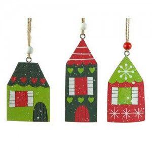 Πολύχρωμα στολίδια σπιτάκια σε τρία χριστουγεννιάτικα σχέδια