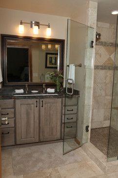 distressed grey wood bathroom cabinets master bath
