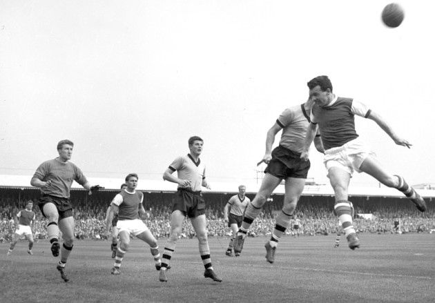 Ipswichs Roy Rocky Stephenson challenges for the ball at Portman Road in September 1962 during a match with Wolverhampton. The other Town players featured are Doug Moran and Ray Crawford