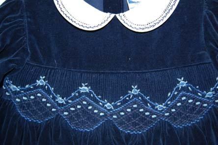 Navy Blue Smocked Velvet Baby Girls Dress