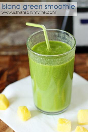 Island green smoothie -- my favorite green smoothie with frozen pineapple, banana, spinach, almond milk & a couple other goodies. #drink #smoothie