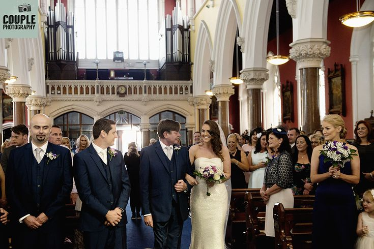 The first look, in church. Weddings at The Knightsbrook Hotel Photographed by Couple Photography.