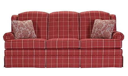 Ruby Red Plaid On A Buttoned Back Skirted Sofa Lancer