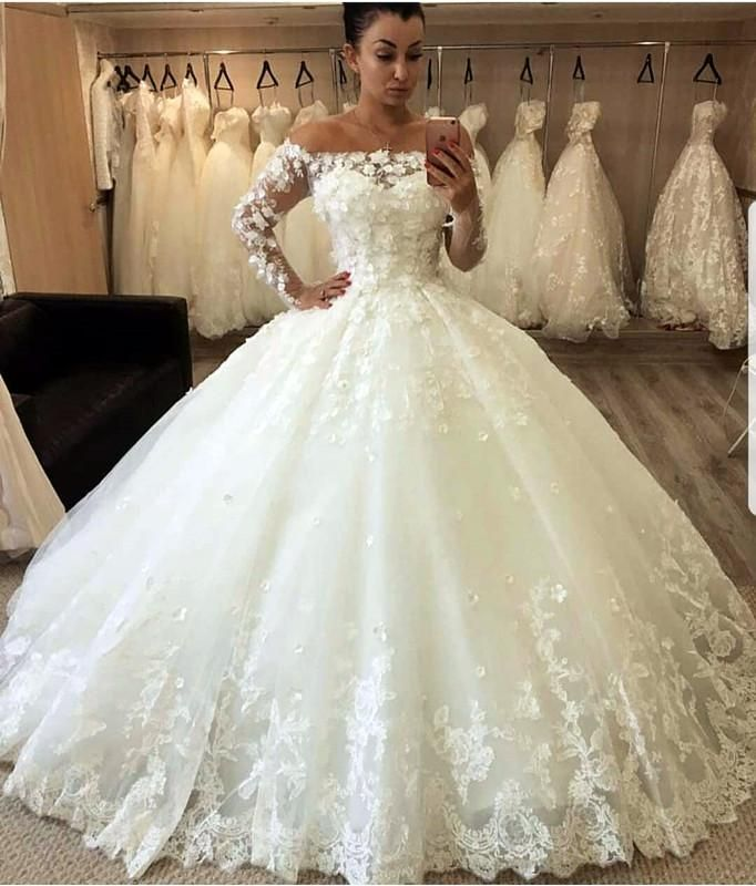 Lace Off The Shoulder Tulle Ball Gowns Wedding Dresses Long Sleeves Long Sleeve Wedding Dress Lace Layered Tulle Wedding Dress Beige Wedding Dress