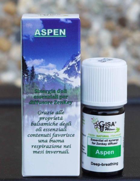 ASPEN Sinergia di oli essenziali ideata appositamente per diffusore ad ultrasuoni ZenKey Gisa Wellness. Grazie alle proprietà balsamiche degli oli essenziali contenuti, favorisce una buona respirazione nei mesi invernali.