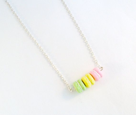 This is a cute trio of macarons necklace. Handmade by me with polymer clay. Choose either a 16, 18 or 20 inch necklace chain. Or you can choose a