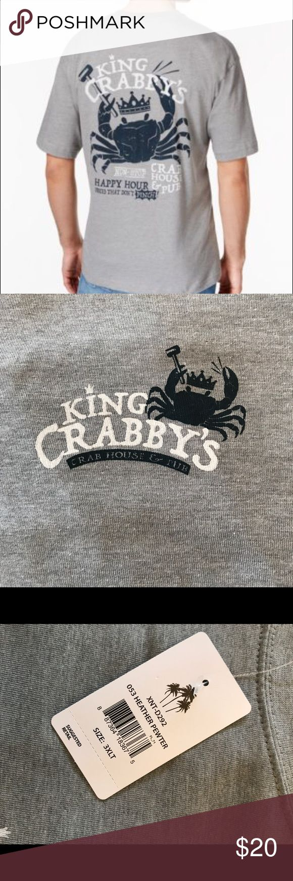 "3XLT and 4XLT Men's T-Shirt ""King Crabby"" b98 The Newport Blue King Crabby Crab House Cotton T-Shirt features screenprint of ""King Crabby's Crab House & Pub"" with a huge crab on back of shirt. Newport Blue's King Crabby Crab House Cotton T-Shirt is made of 90% cotton/ 10% polyester. B98 Newport Blue Shirts Tees - Short Sleeve"