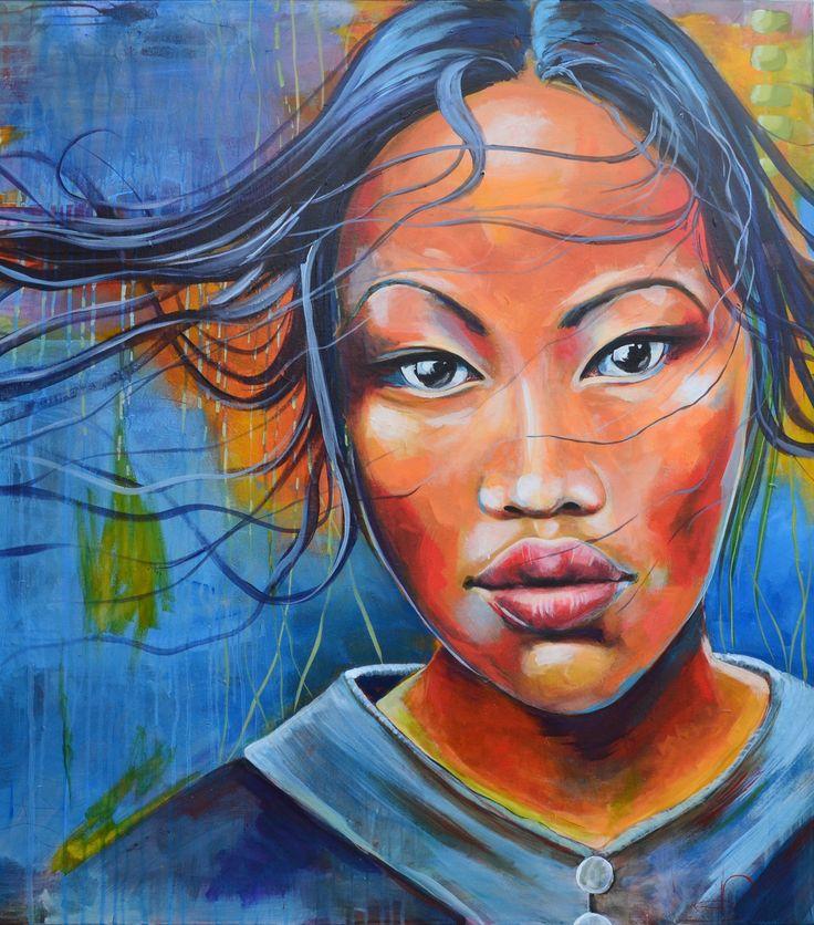 Vietnamese girl 100X90 cm. Acrylic on canvas. made by naja Duarte.