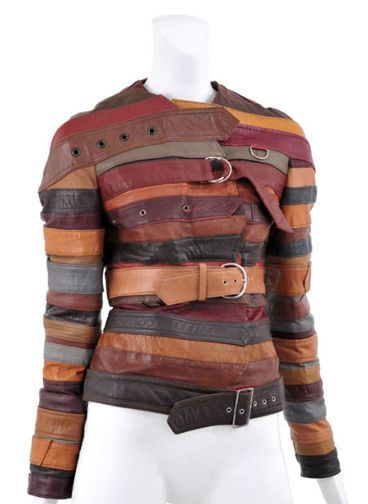 """In chapter 4, it mentions about recycling. This is an example of """"refabricating"""" a jacket that was made out of different belts.   Belt jacket and other recycled fashion"""
