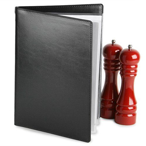 Menu Covers A4 Black - Set of 12 PVC pockets for 4 sides to view