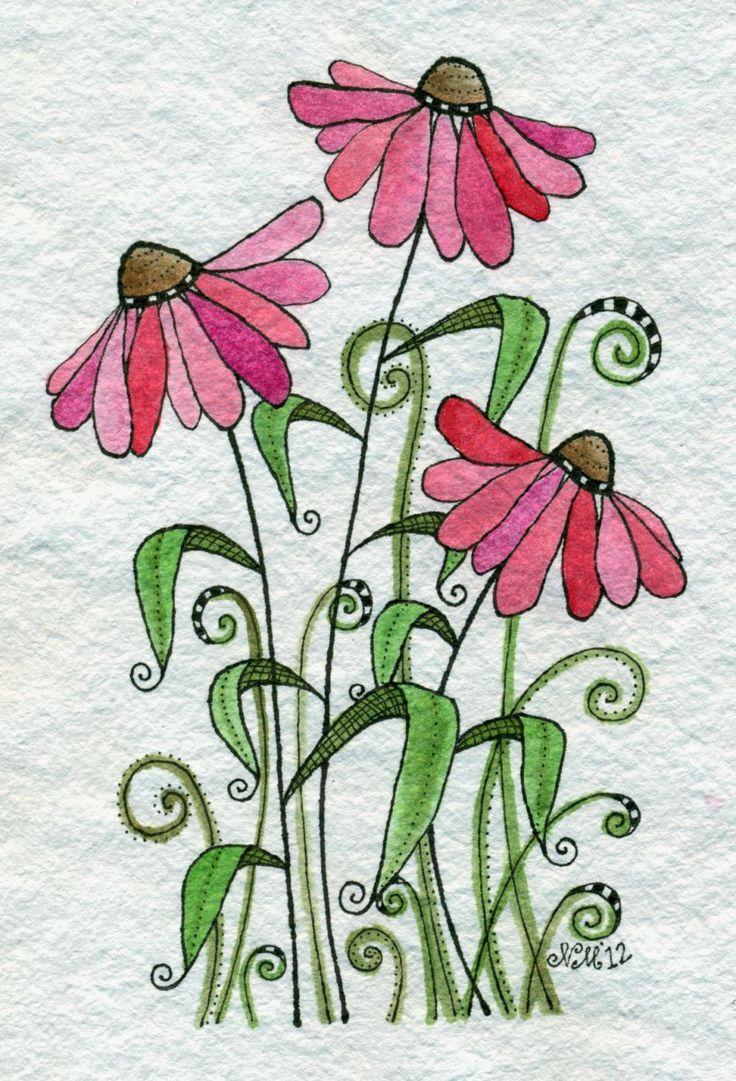 flowers drawing watercolor doodle valentine flower simple painting sprinkles drawings floral paintings cookie moon pink luulla easy plant doodles daisies