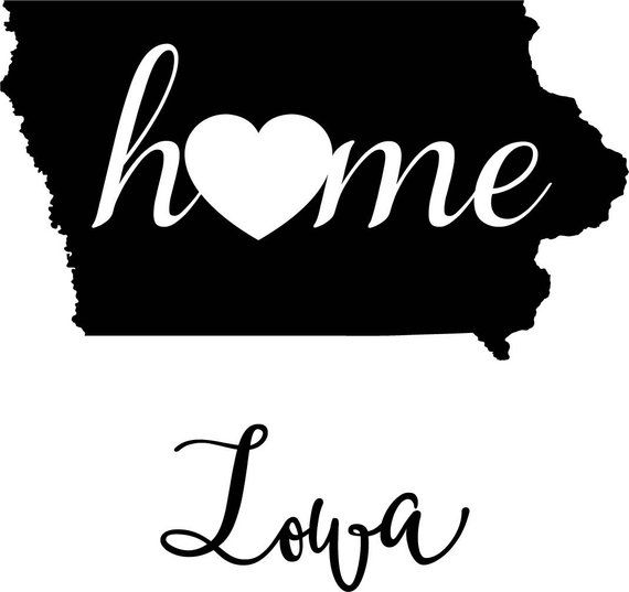 Iowa State Map Digital File Svg Png Jpg Eps Vector Graphic Etsy