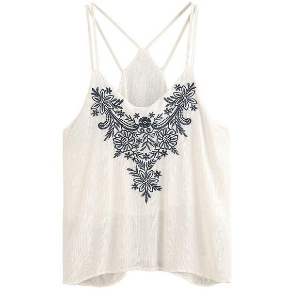 Flower Printing Strappy Crop Top ❤ liked on Polyvore featuring tops, embellished crop top, print crop tops, short crop tops, cami top and white crop tops