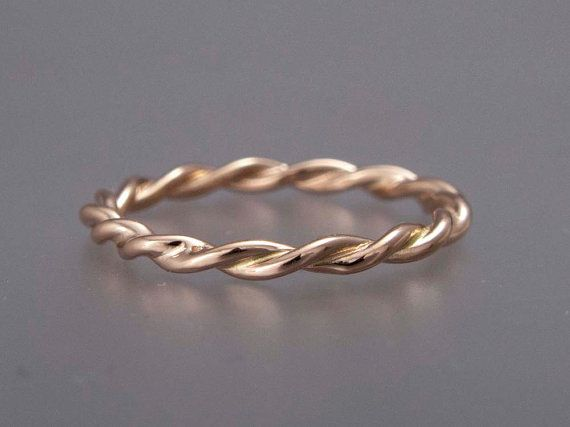 Rose Gold Twist Ring  14k Wedding Band Rose by LichenAndLychee, $222.00