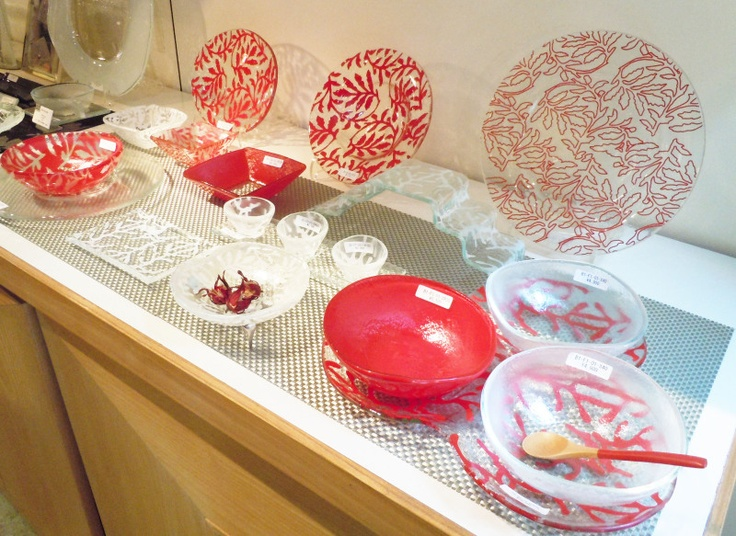 Glass tableware set with red and white leaf designs - show plates dinner plates & 170 best Dinnerware designs images on Pinterest | Dinnerware designs ...